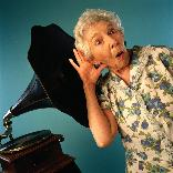 Granny bugging out with the Victrola